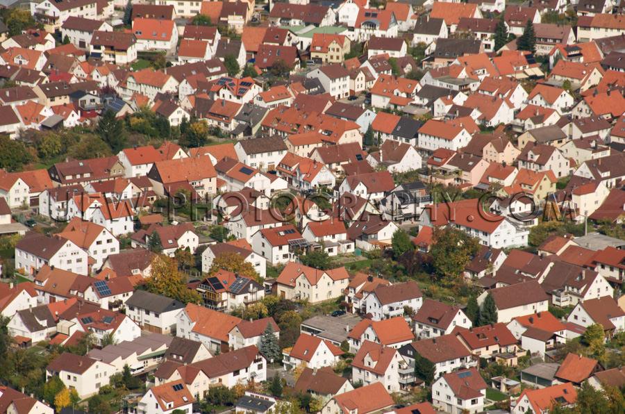 Vogelperspektive Sauber Sicher Ort Siedlung Einfamilienhäuser R