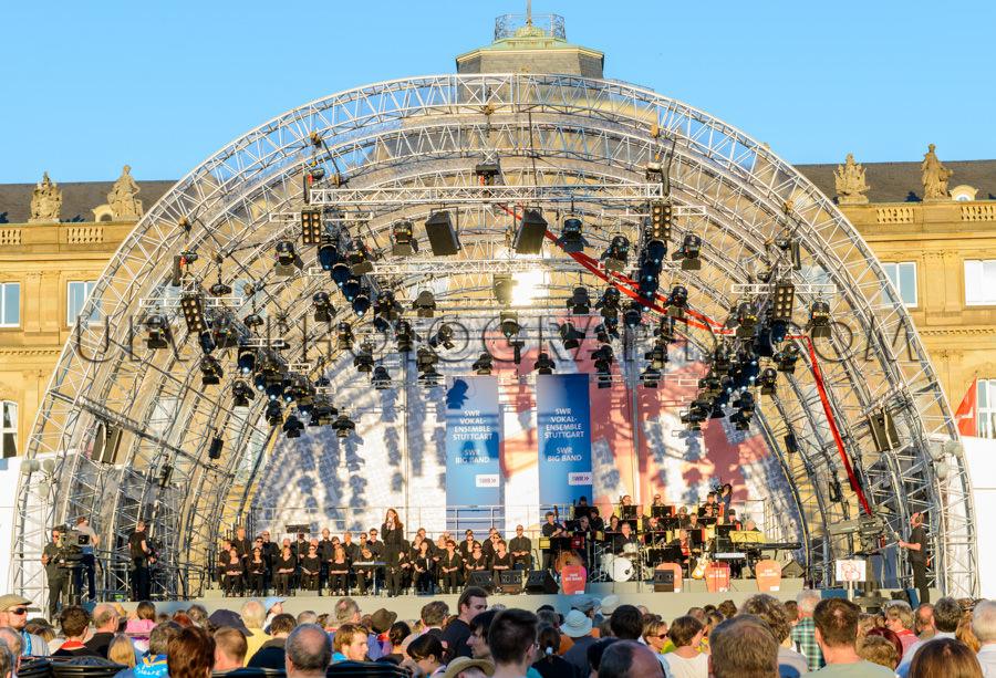 Bigband Konzert Im Freien Bühne Musiker Fernsehkamera Publikum