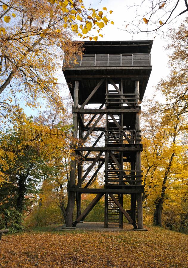 Hölzerner Aussichtsturm aus Holzbalken Zwischen Bunten Bäumen