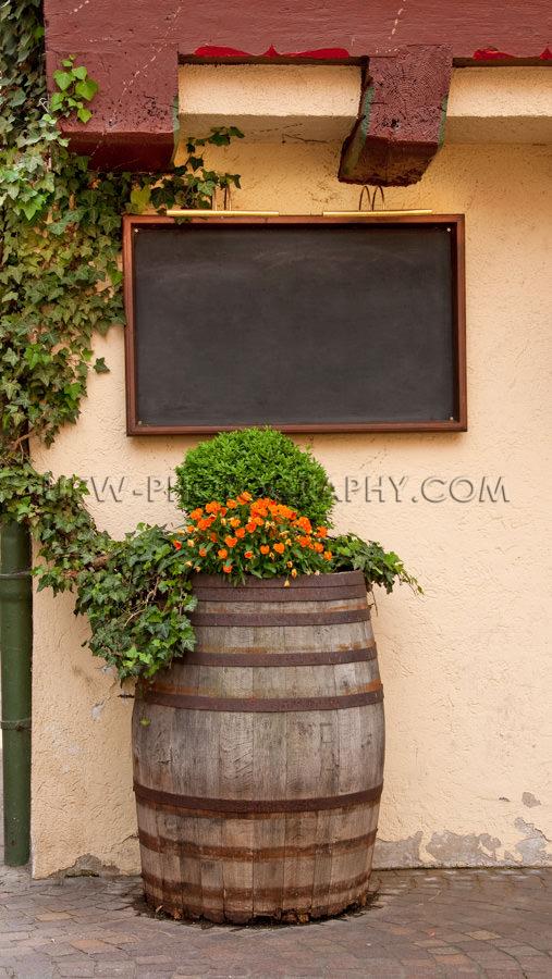 Leer Menütafel Alt Weinfass Idyllisch Blumen Im Freien Stock Fo