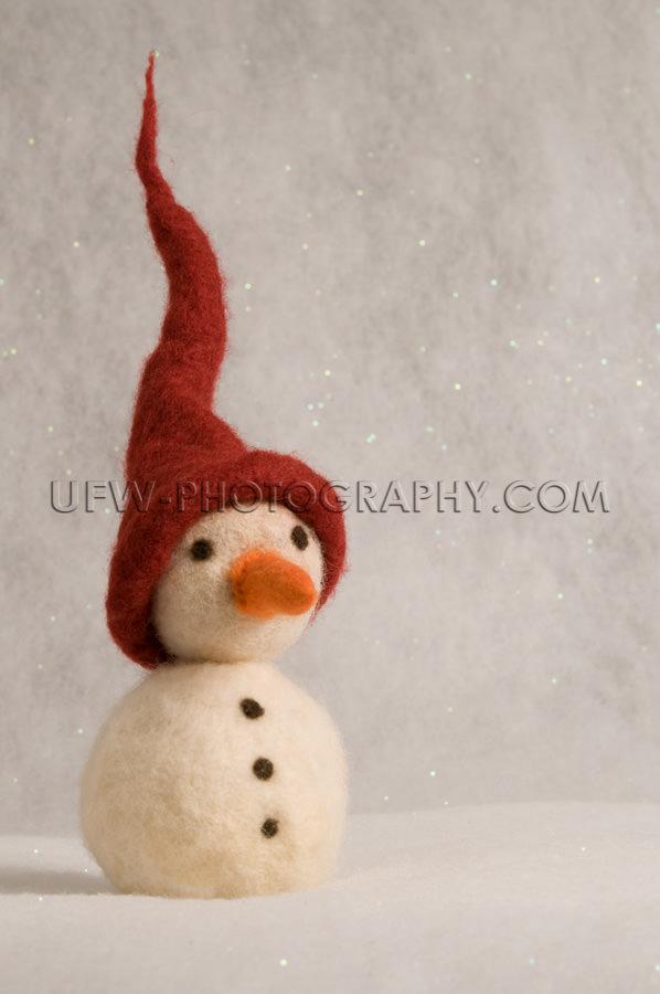 Spielzeug Schneemann Mit Spitzem Rot Hut Karotte Nase Kohle Knö