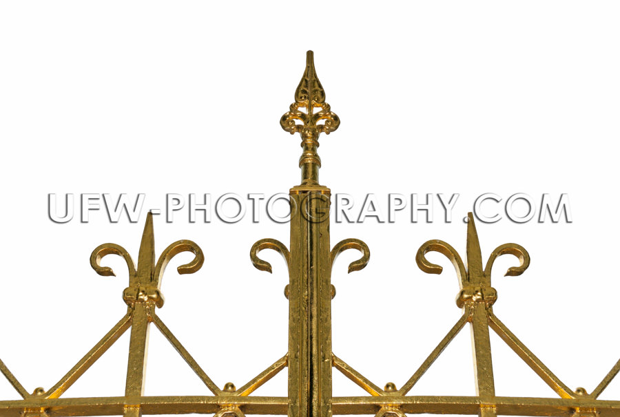 Spitze Goldfarben Verzierung Eisentor Stock Foto