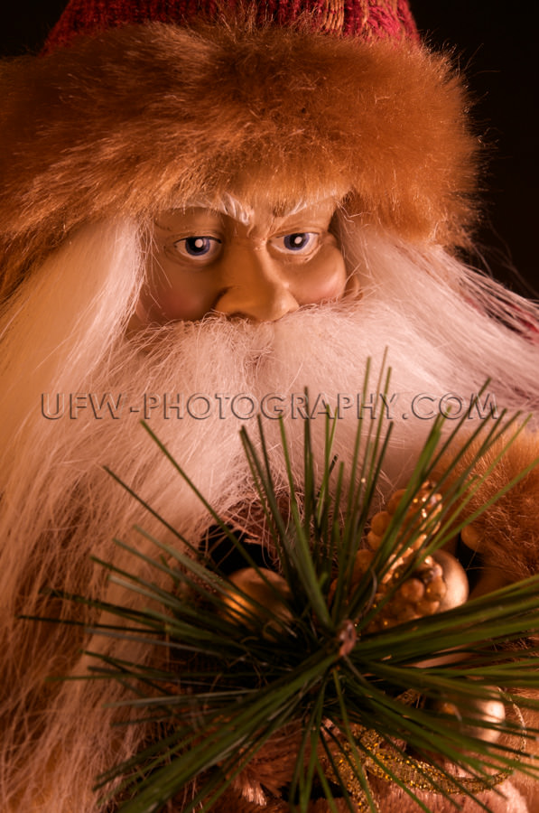 Weihnachtsmann Porträt In Heiterer Stimmung Makro Bild Stock Fo