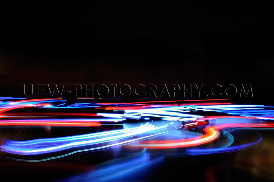 Abstrakt Blau Rot Horizontal Lichter Verkehr Bewegungsunschärfe