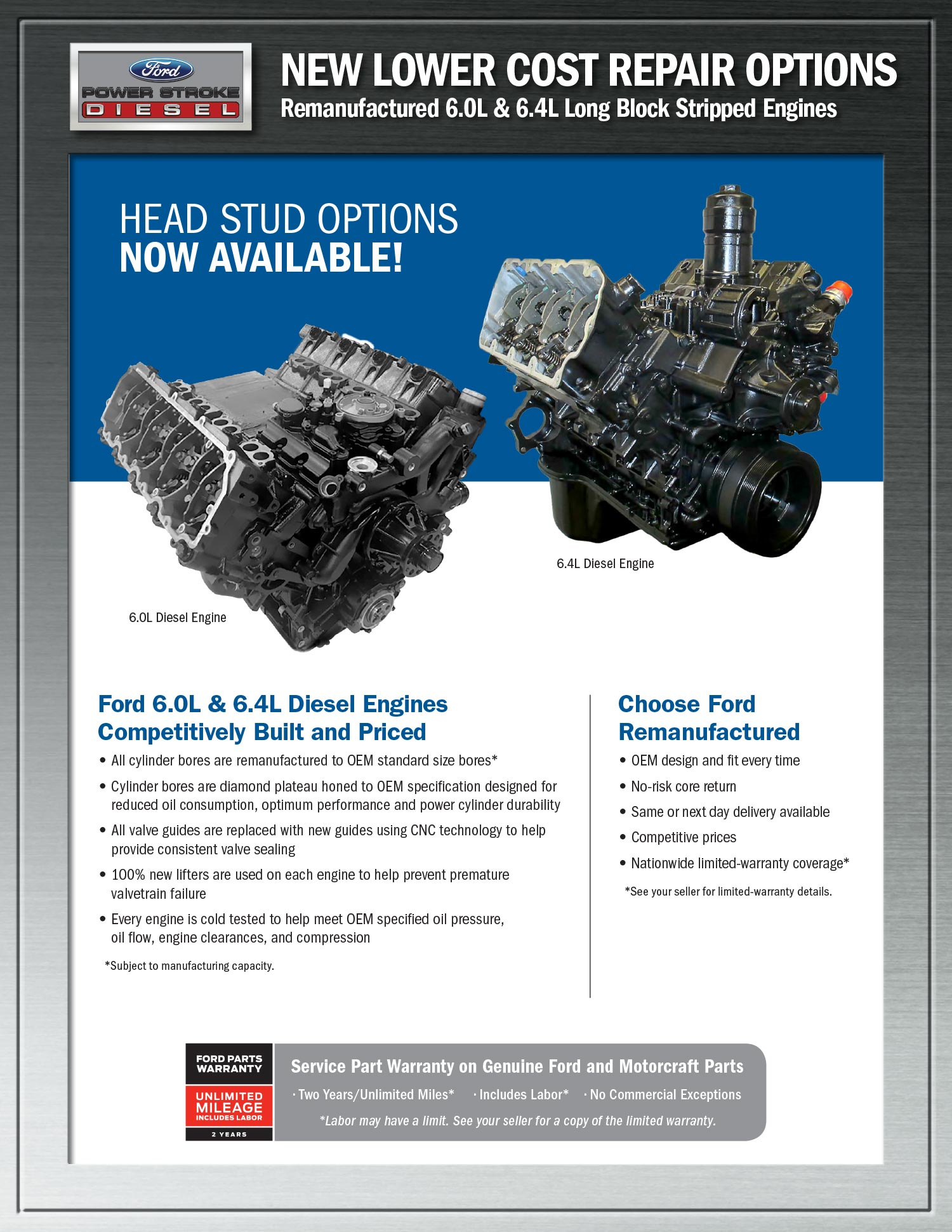 Lower Cost for Remanufactured Long Block Stripped Engines