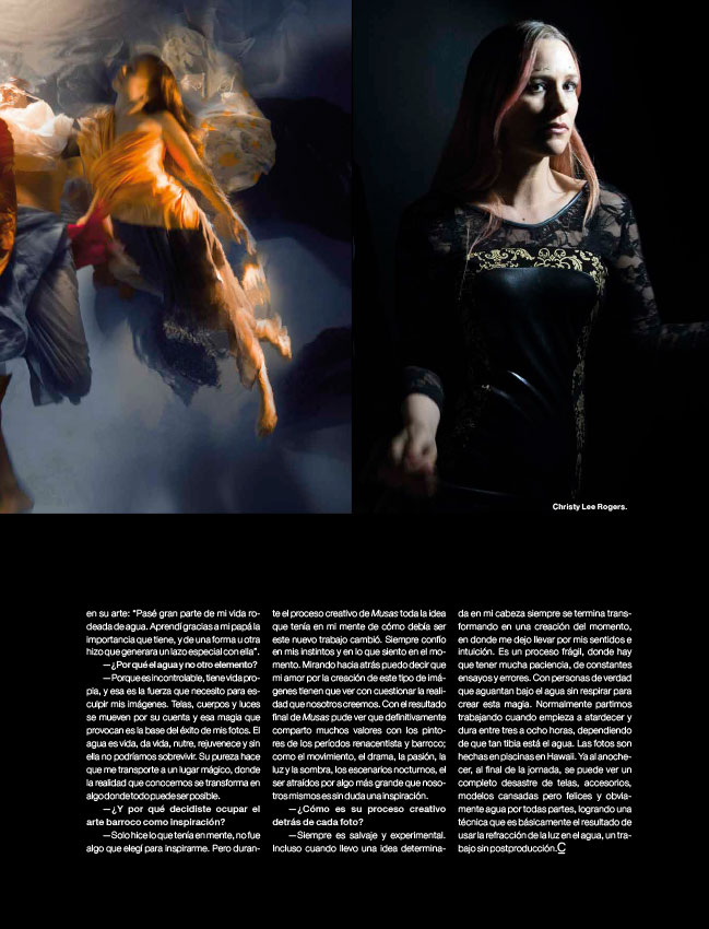 Christy Lee Rogers Muses in Caras Chile Art Magazine