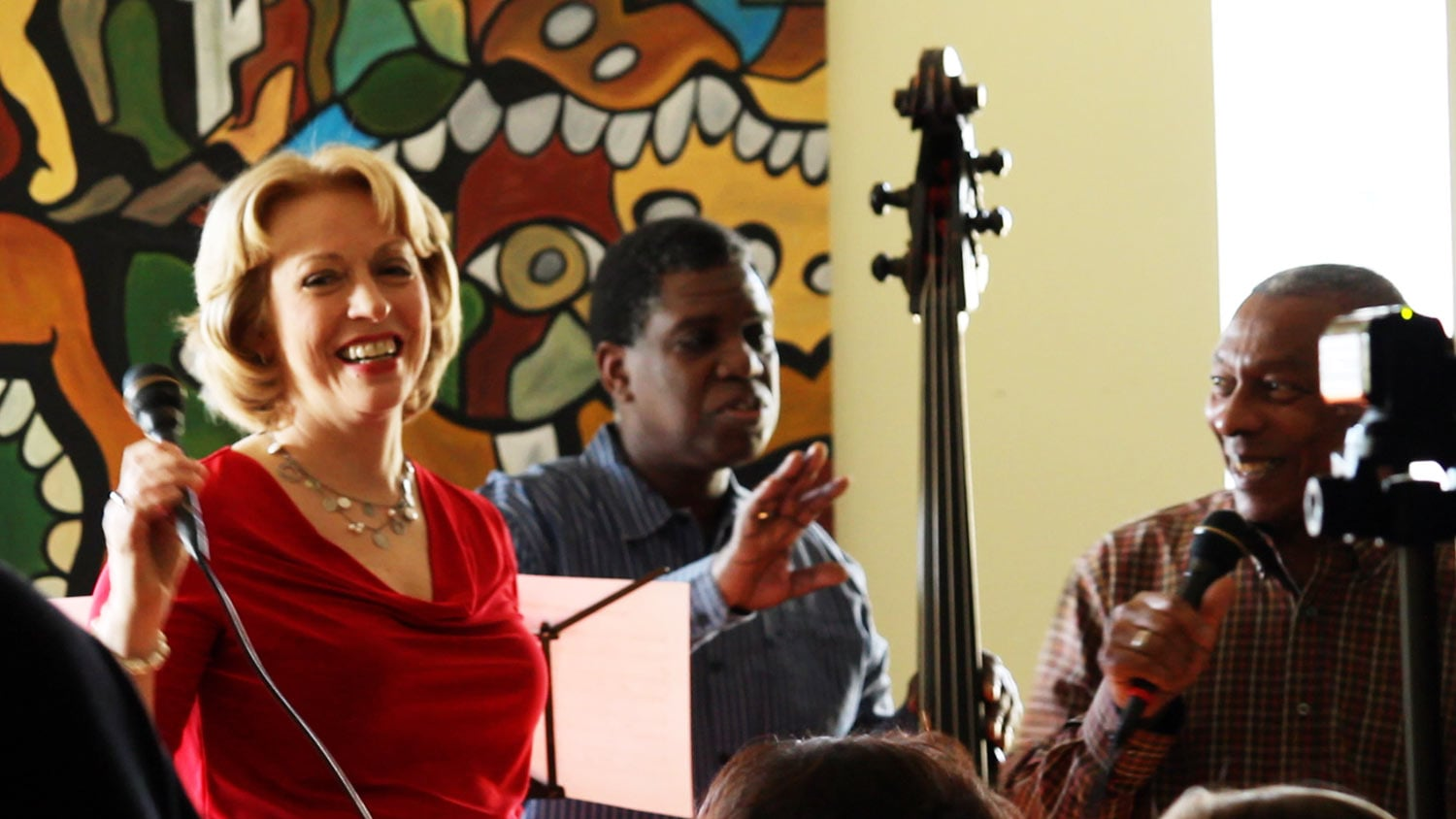 Jeanne and Richard with bassist Hillyard Greene at house concert in Harlem