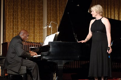 "Onstage with pianist Nat Phipps at ""A Place for Jazz"" concert series, Schenectady, NY"