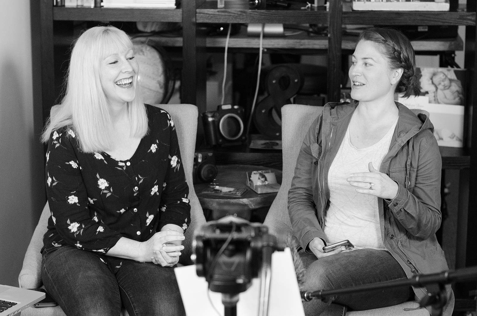 Theresa (left) and Rebecca Moran of WV Motion Works host a Facebook Live event.