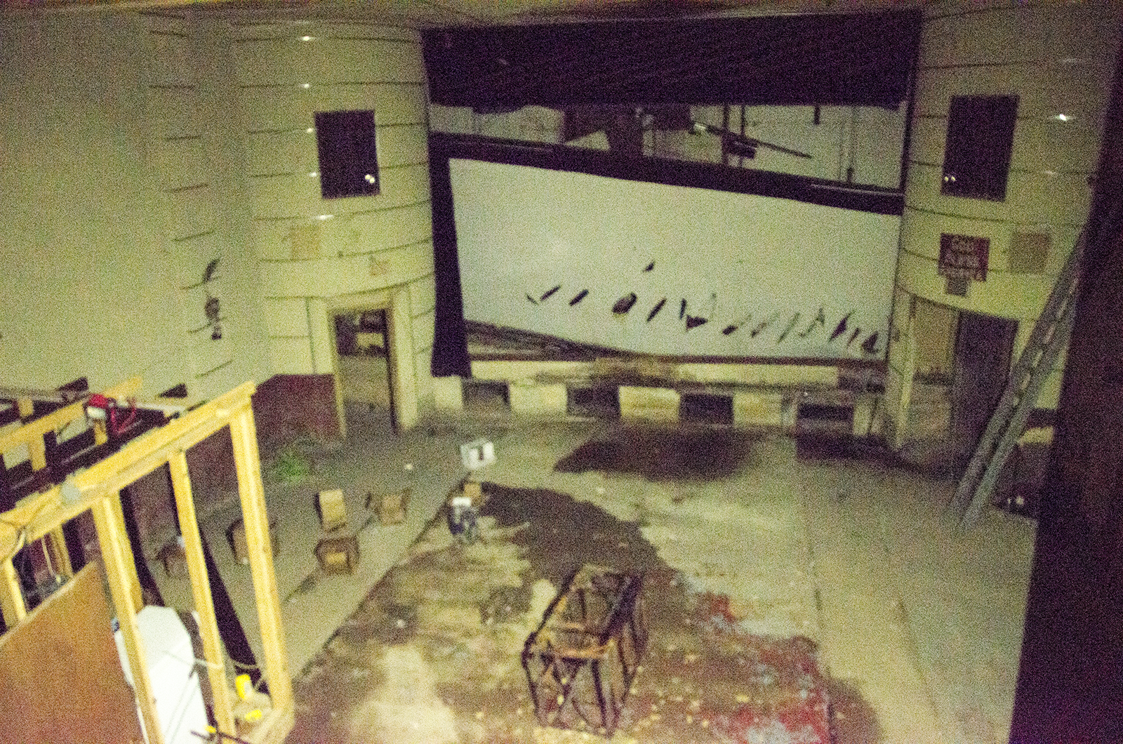 Photo of theater taken in near-pitch-black conditions.  Kolb hopes to apply for a grant to refurbish   the location and make it into a live dinner theater.