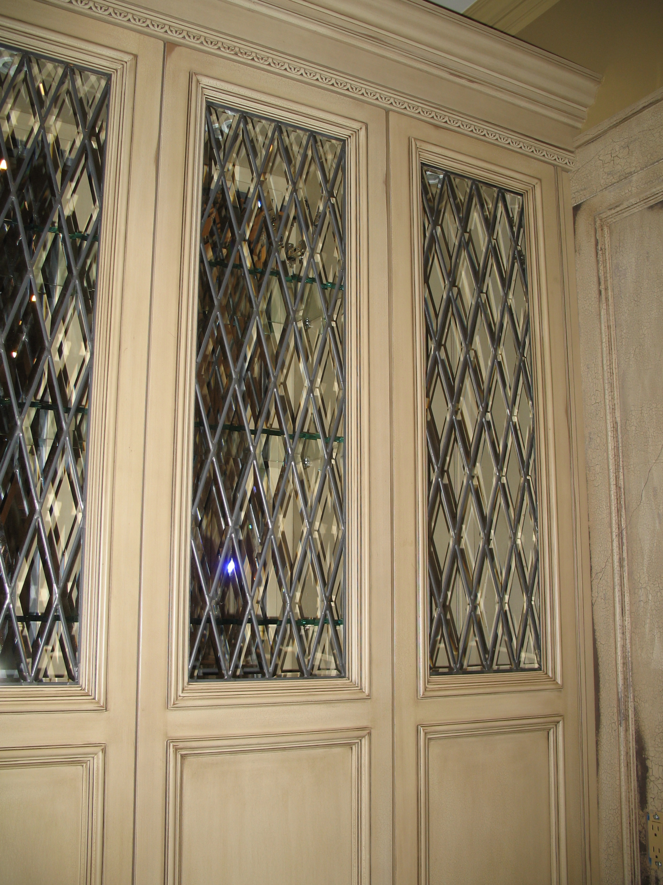 Custom stained glass cabinets