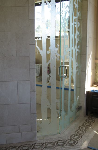 Custom etched glass doors