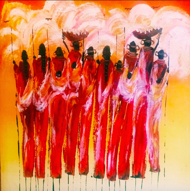 Painting of Maasai Warriors, as seen on the wall in my hotel room in Diani.