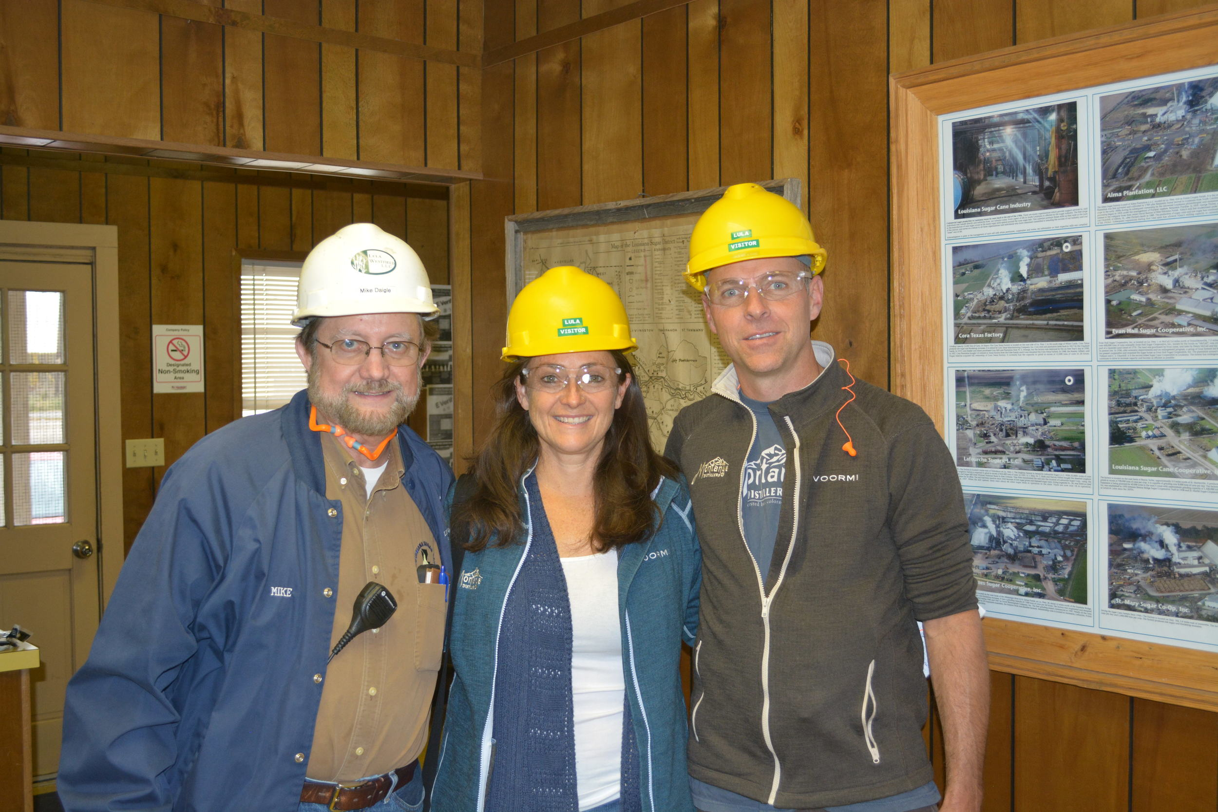 Mike Daigle - Now retired, Mike was a 6th generation family owner and cane grower of the Lula Sugar Mill, shown here with Karen and Brice Hoskin of Montanya Distillers