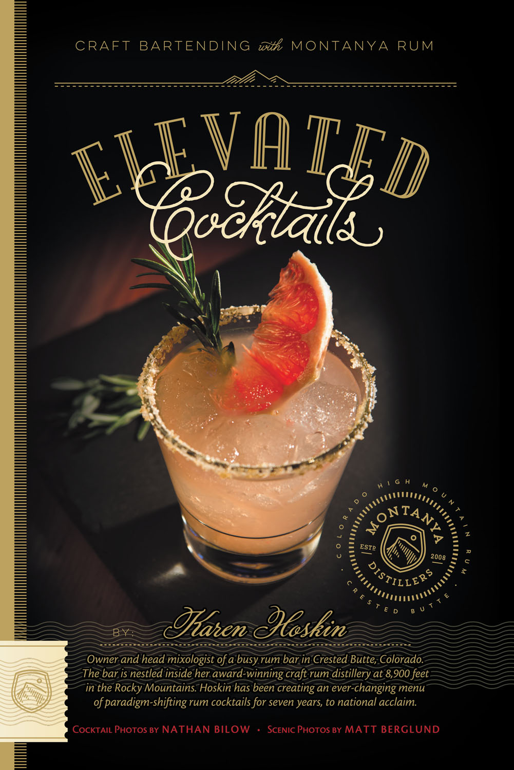 The cover of cocktail recipe book Elevated Cocktails: Craft Bartending with Montanya Rum, featuring a picture of the Salty Dog rum cocktail.