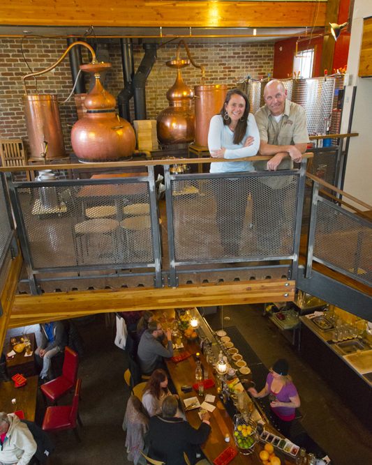 Karen and Brice Hoskin in the Distillery and Tasting Room in Crested Butte, Colorado