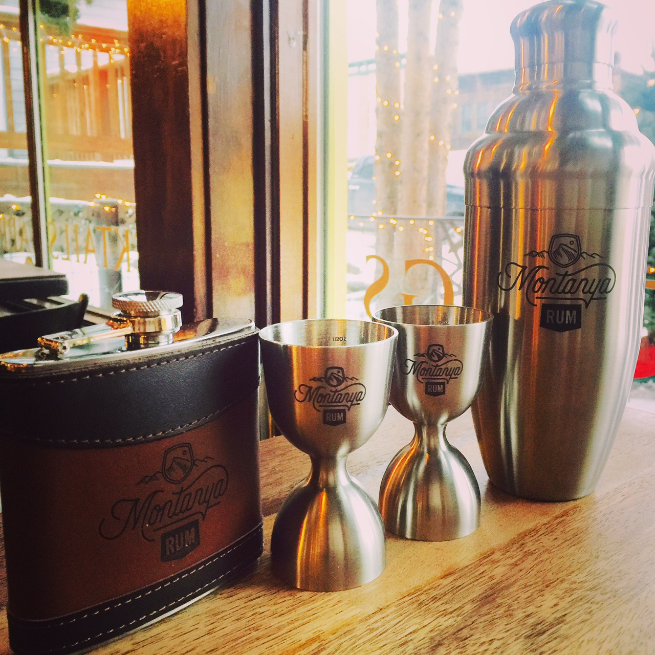 Montanya Rum logo barware - two tone leather flask at 120 ml, heavy stainless jigger, high quality three part shaker!