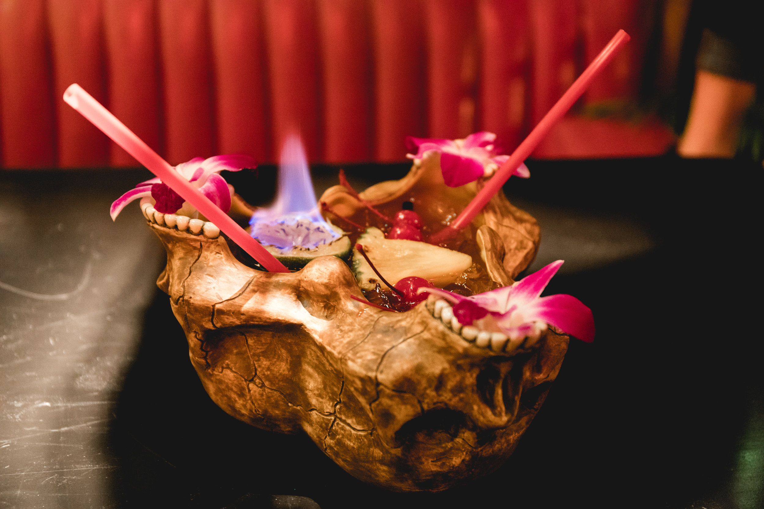 """Baker """"Fire Bowl"""" cocktail (named after the Baker neighborhood where Adrift is located)"""