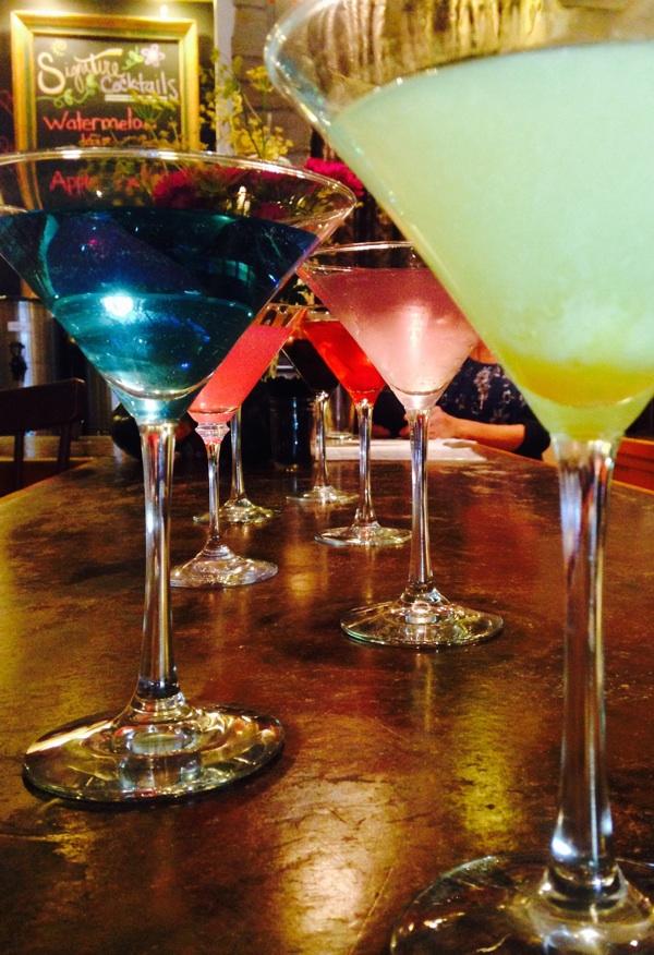 A sampling of The Farm Bistro's 9 martinis!