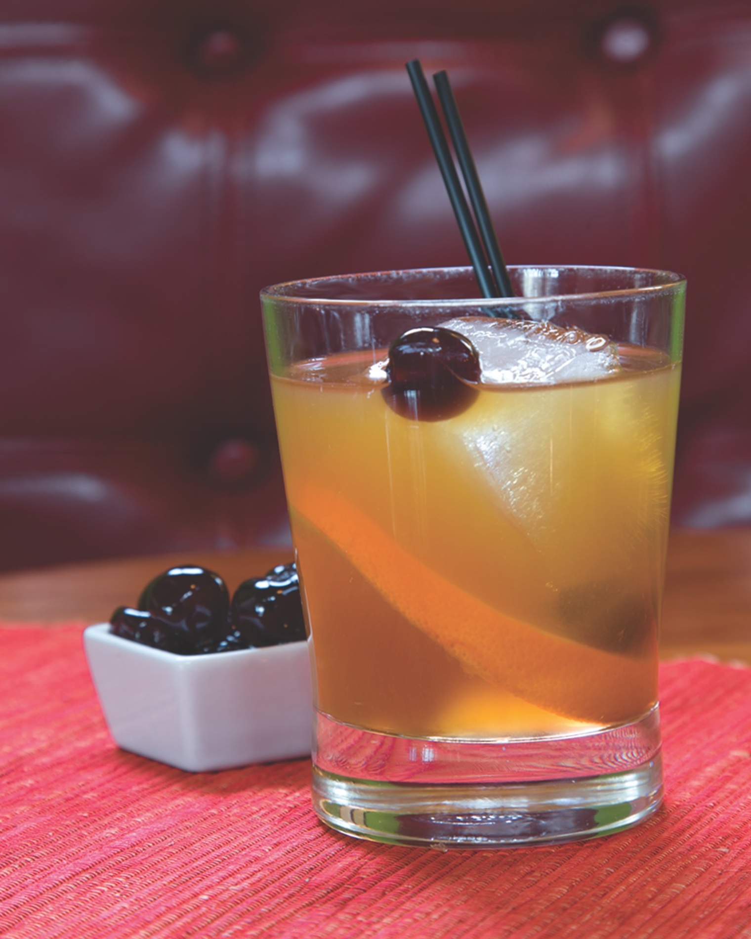 Montanya Distillers' Old Fashioned in a rocks glass