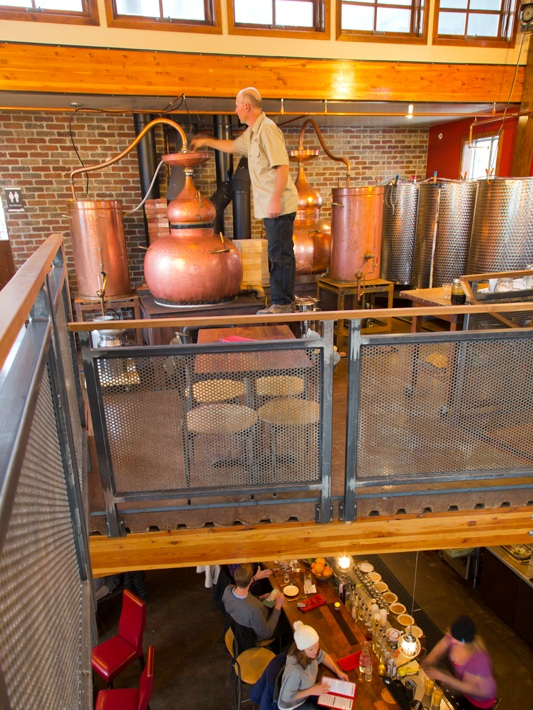 Recycled heat from the stills keeps the distillery and tasting room warm.
