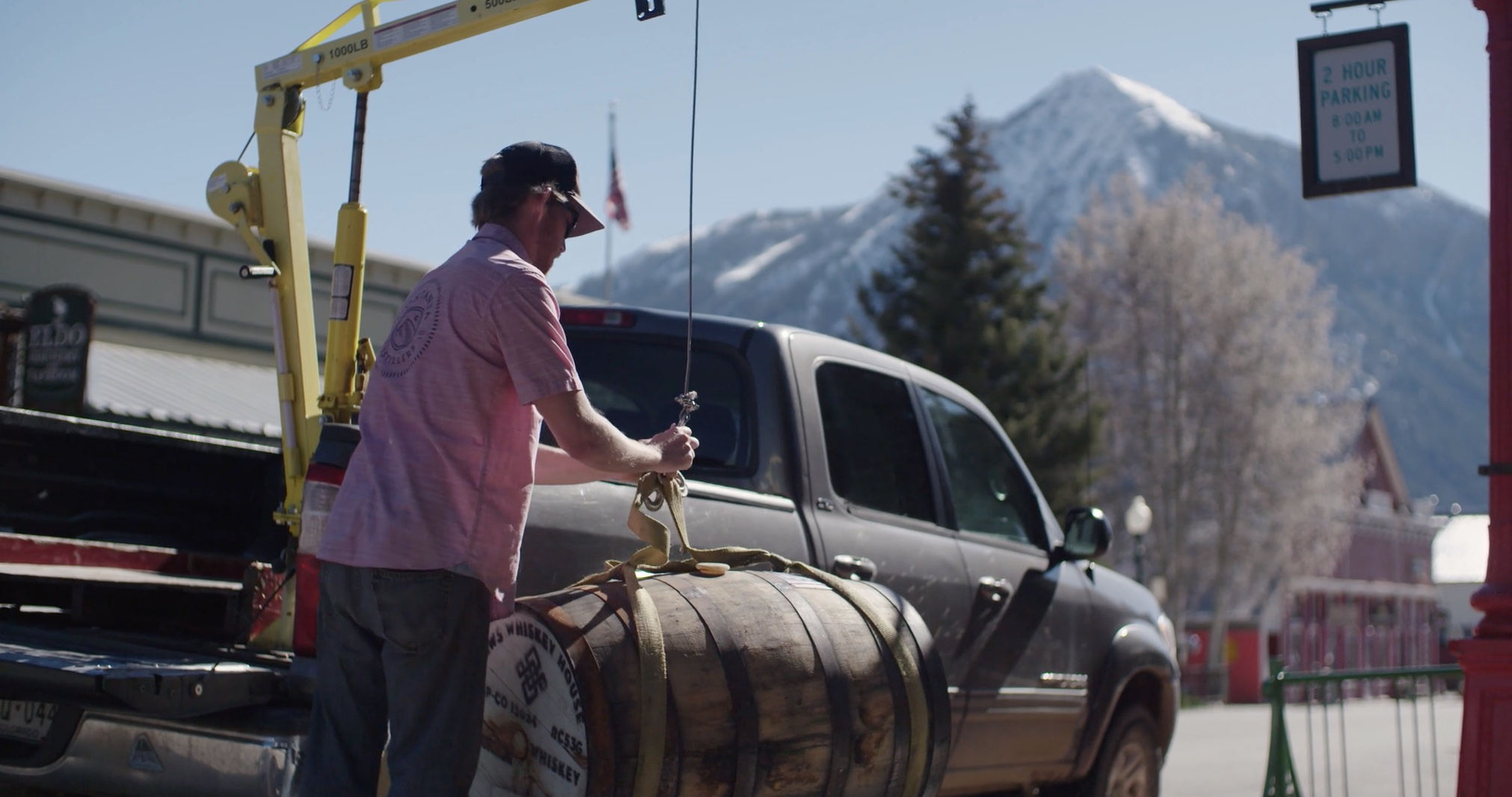 Headed to the Barrel House - To save our aching backs, we use a pulley system to transport barrels of rum from the Distillery in downtown Crested Butte into the rig that transports them to the barrel house two miles south of town.