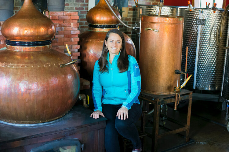 Karen Hoskin in the Montanya Distillers Tasting Room. She was recently interviewed on the  Wonder Women in Business Podcast .