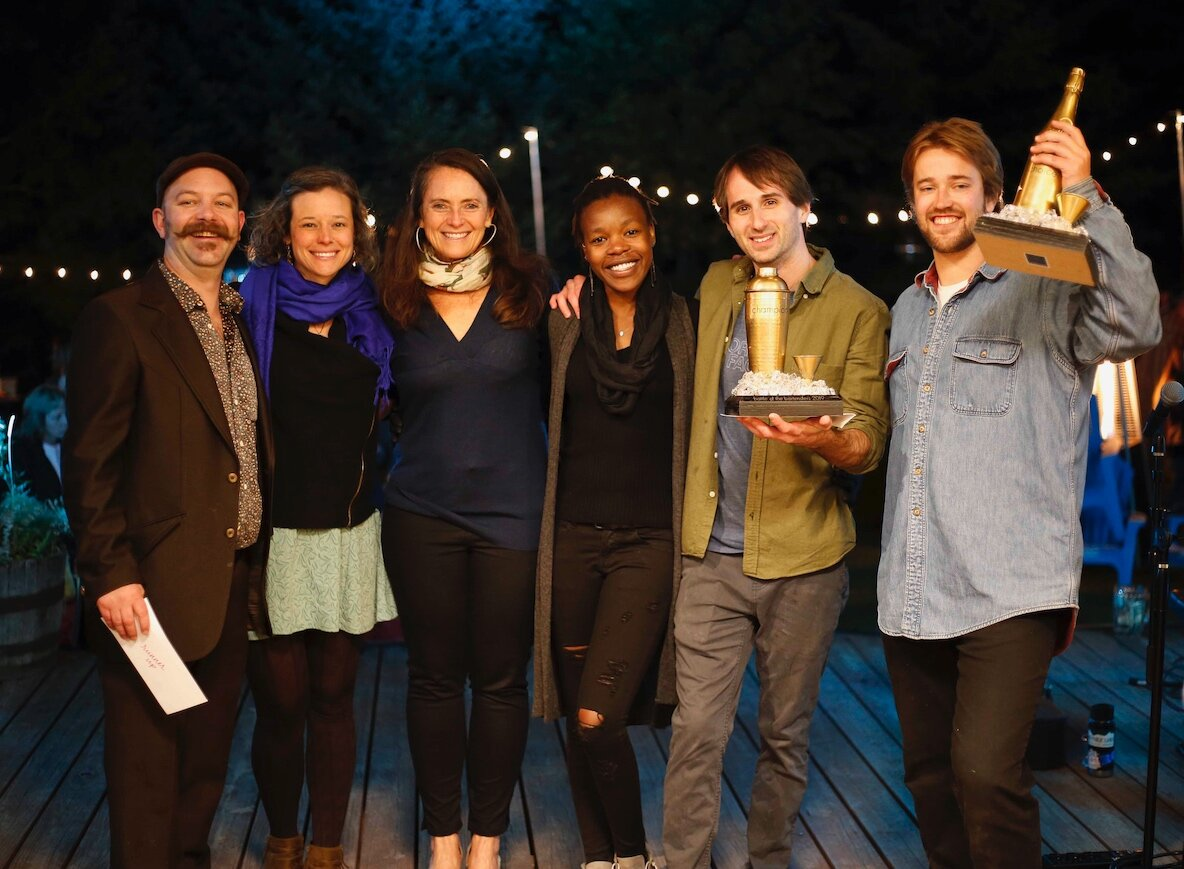 Winners of the 2019 Battle of the Bartenders pictured with Montanya Distillers co-founder and co-owner Karen Hoskin. Left to right: Drew Henry and Sarah Lane Lubeley of the Dogwood (Runner-Up), Karen Hoskin (Montanya Owner), Nontobeko Mbokwana and Eliot Tilton of the Divvy (Champions), and Brandon Lehman of the Princess (People's Choice). Photo by Nathan Bilow.