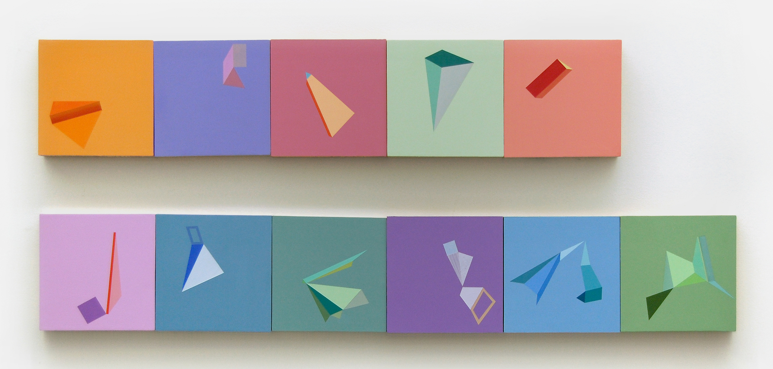 "Untitled a through k , 7""x7""each, acrylic paint on panel,2011-2012"