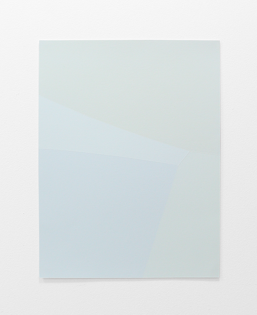 "draining into fog , acrylic paint on paper, 13""x 10"", 2017"