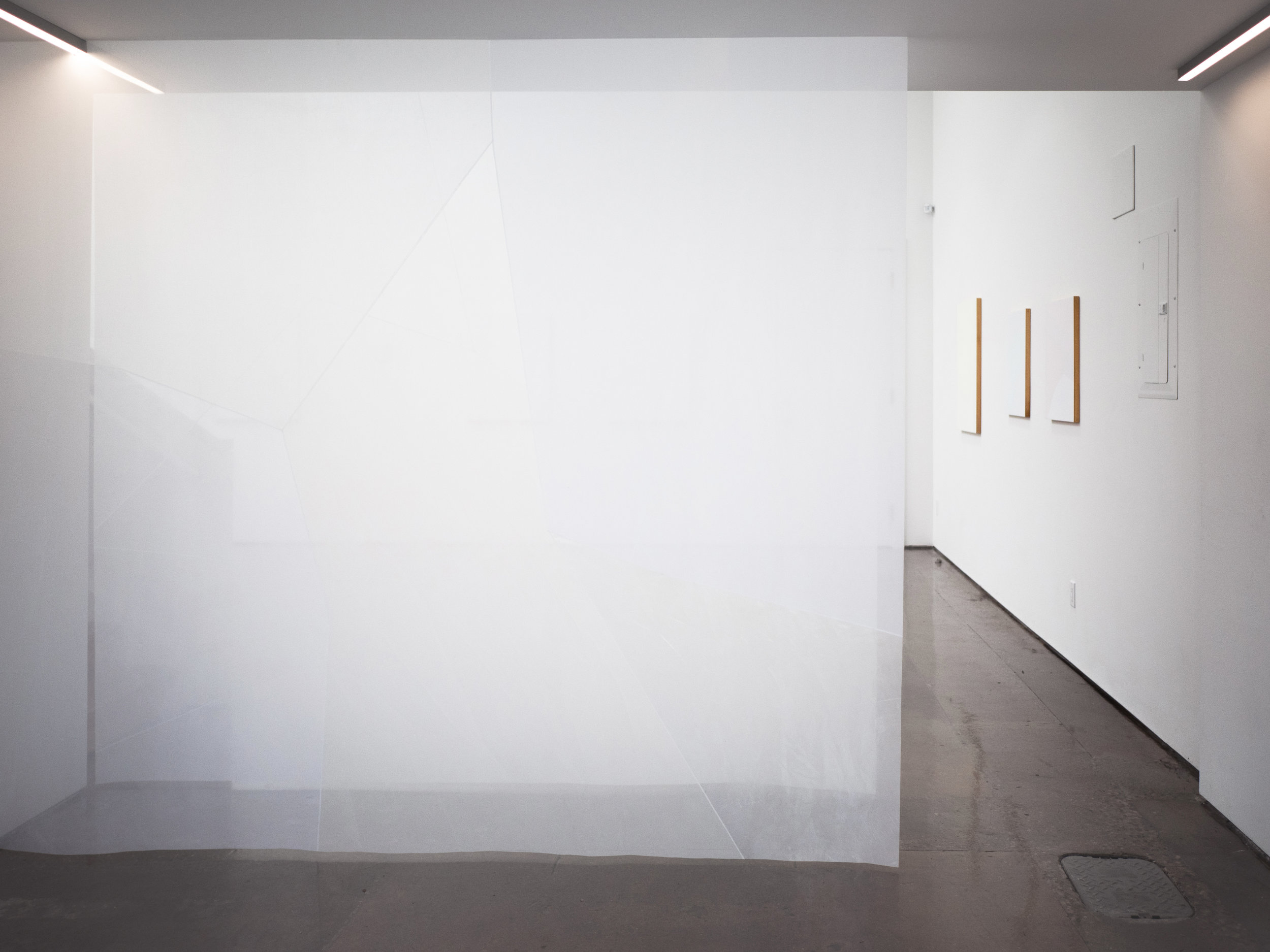 acclimatizing cadence , 2018, thrifted sheers and acrylic medium, 2 panels @ 98 x 87 inches each, photo by Polina Teif