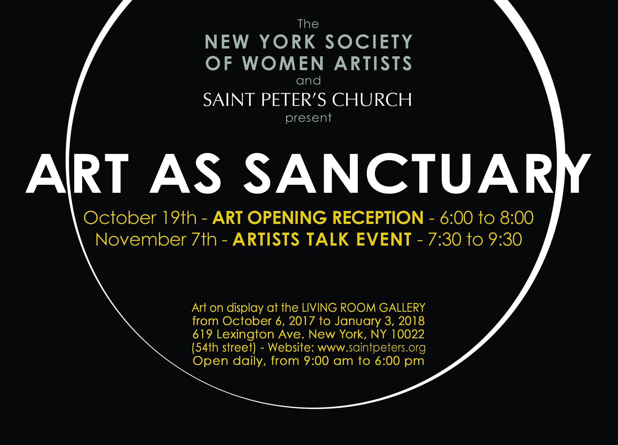 NYSWA @ ST PETER, NYC - October to December 2017