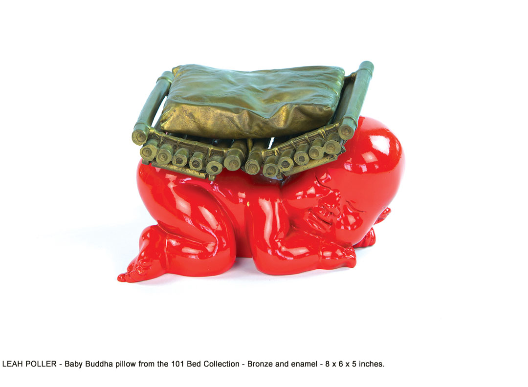 Leah-Poller_3_Baby Buddha pillow from the 101 Bed Collection_bronze,ename_8 x 6 x 5 _web.jpg