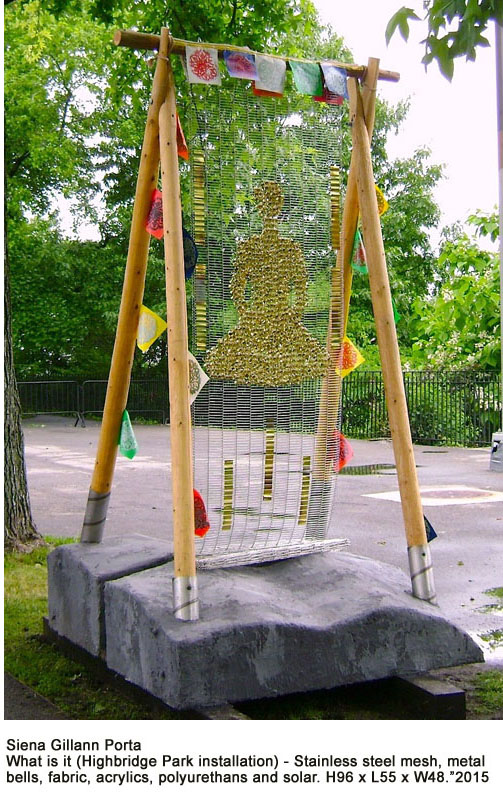 "7_Siena Gillann Porta_What is it_Stainless steel mesh,metal bells,fabric, acrylics,polyurethans and solar_Highbridge Park installation_ 96""h x 55""l x 48""w 2015.jpg"