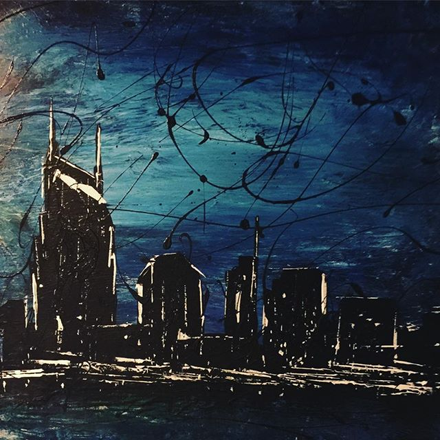 Nashville minus the 12 cranes and 6 new high rises. Did you know that 80-100 people move here per day. Whatcha waiting for? ----- #oldnashville #newnashville #painting #acrylic #acrylicpainting #art #skyline