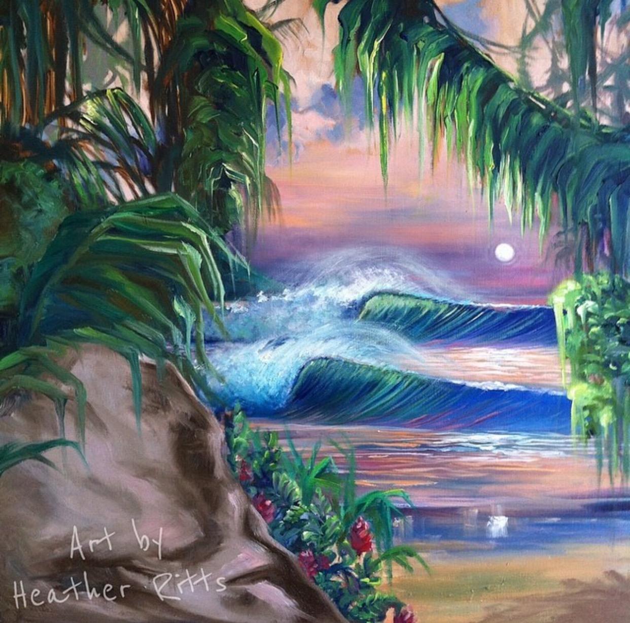 """""""Haleiwa Moonrise"""" Oil on Wood"""