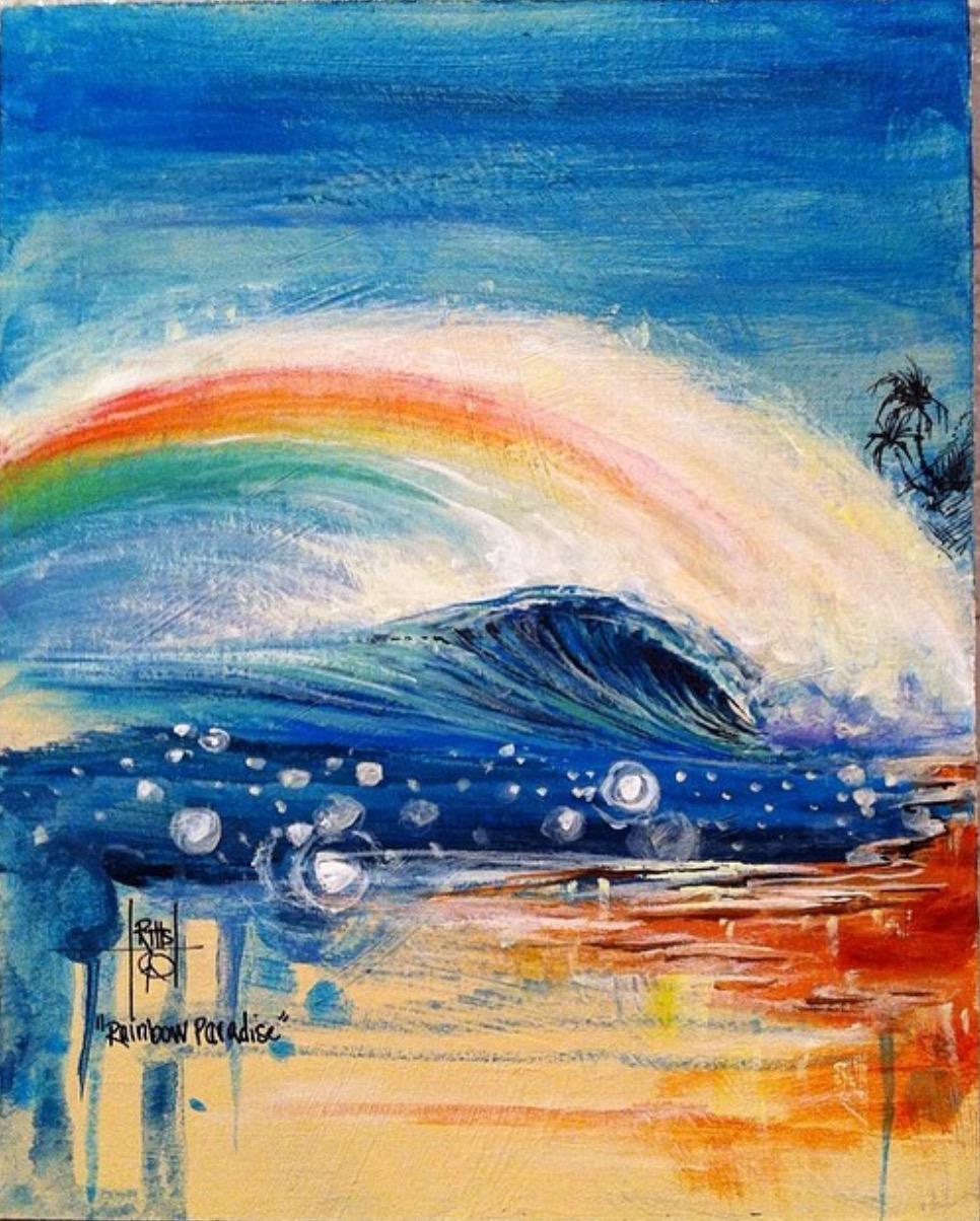 """""""Rainbow Paradise"""" Acrylic on Board"""