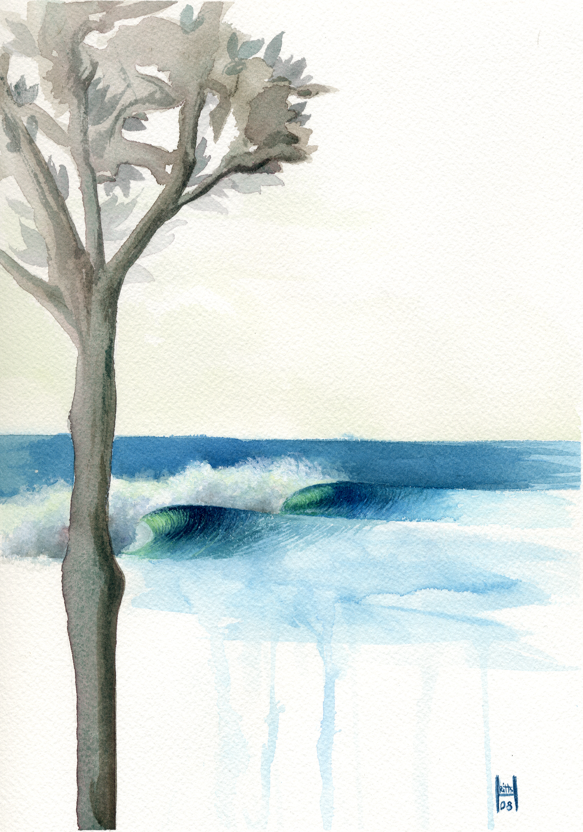 """""""Silhouette Waves"""" Watercolor on Illustration Board"""