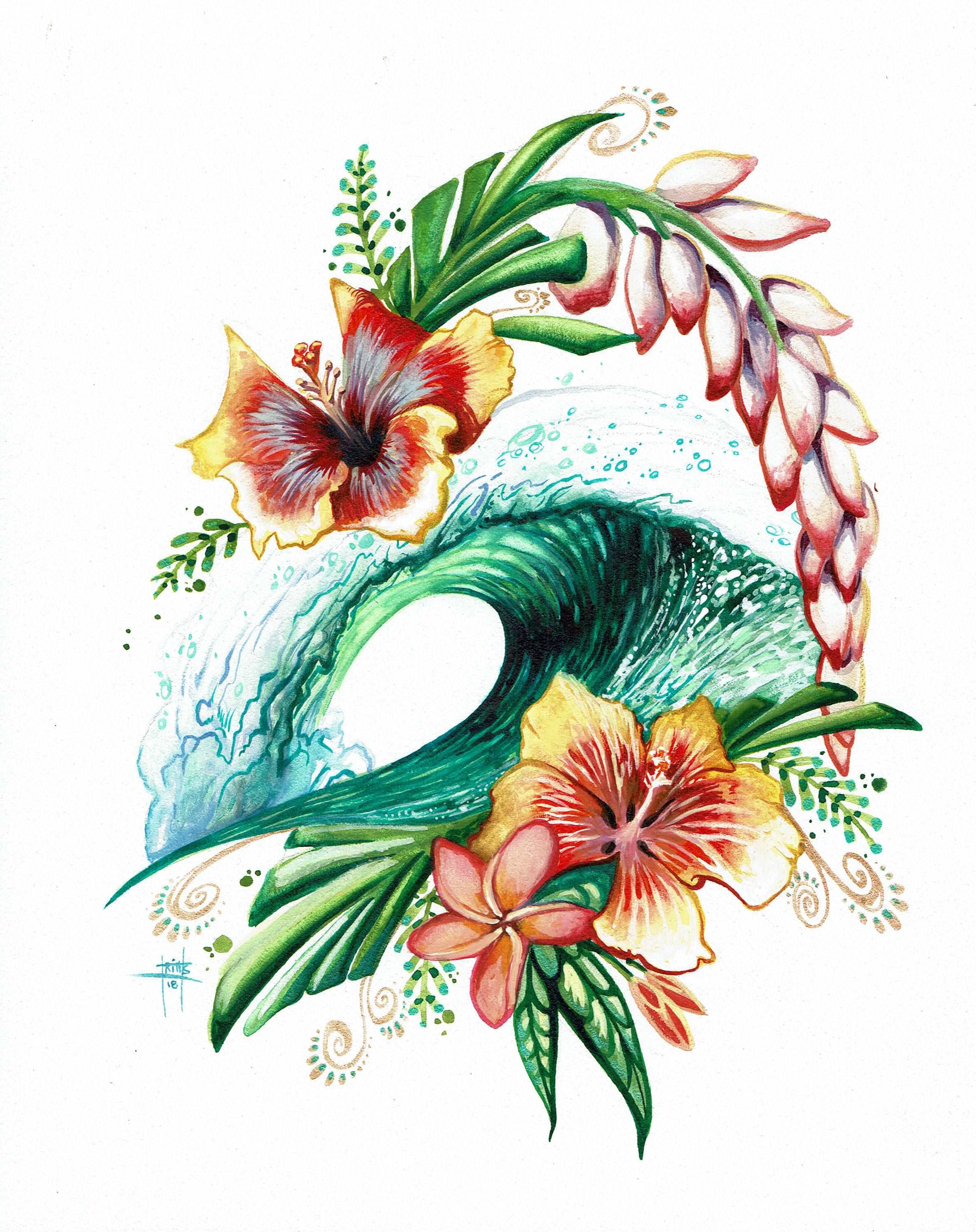 """""""Hibiscus Wave"""" 8x10 Watercolor"""