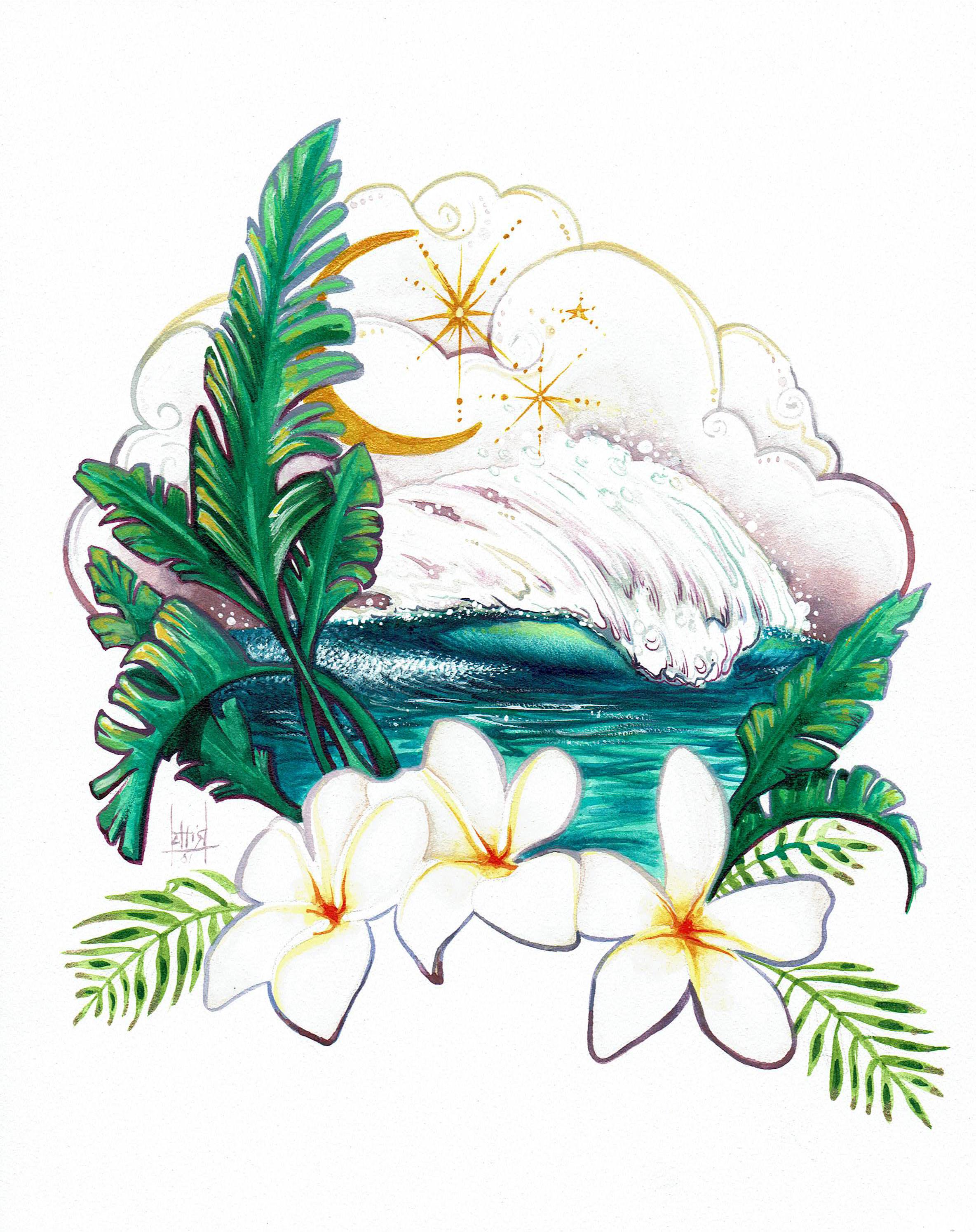 """""""Moonlit Wave"""" 8x10 Watercolor"""