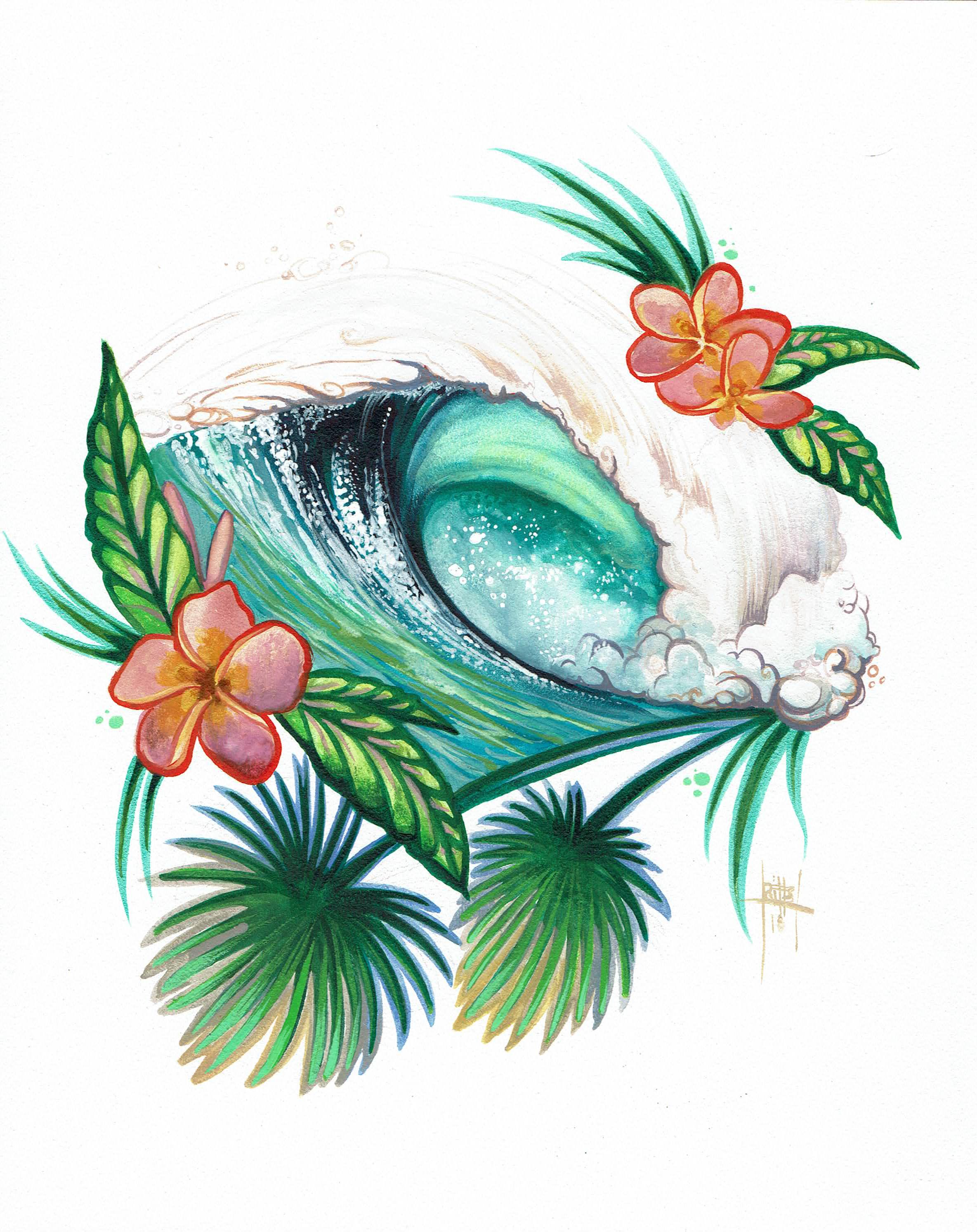 """Pink Plumeria Wave"" 8x10 Watercolor"