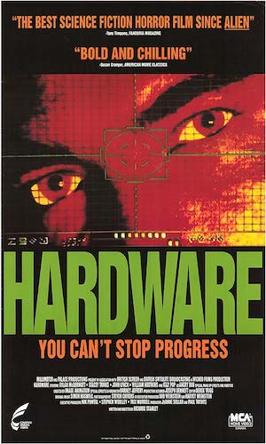 Hardware - Dir. Richard Stanley   imdb synopsis: The head of a cyborg reactivates, rebuilds itself, and goes on a violent rampage in a space marine's girlfriend's apartment.