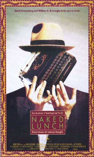 Naked Lunch - Dir. David Cronenberg   imdb synopsis: After developing an addiction to the substance he uses to kill bugs, an exterminator accidentally kills his wife, and becomes involved in a secret government plot being orchestrated by giant bugs in a port town in North Africa.