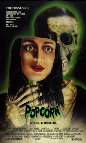 Popcorn - Dir. Mark Herrier   imdb synopsis: A murderer begins killing off teenagers at a horror movie marathon they have organized in an abandoned theater.