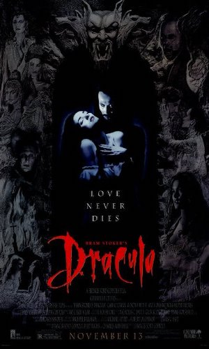Bram Stoker's Dracula - Dir. Francis Ford Coppola   imdb synopsis: The centuries old vampire Count Dracula (Gary Oldman) comes to England to seduce his barrister Jonathan Harker's (Keanu Reeves') fiancée Mina Murray (Winona Ryder) and inflict havoc in the foreign land.