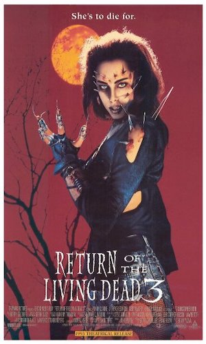 Return of the Living Dead 3 - Dir. Brian Yuzna   imdb synopsis: Having recently witnessed the horrific results of a top secret project to bring the dead back to life, a distraught youth performs the operation on his girlfriend after she's killed in a motorcycle accident.