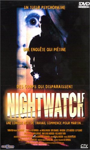 Nightwatch - Dir. Ole Bornedal   imdb synopsis: A law student starts working as nightwatchman at Department of Forensic Medicine in Copenhagen. His mad friend gets him on a game of dare that escalates. As a serial-killer's victims start piling up at work, he becomes a suspect.