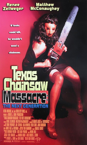 Texas Chainsaw Massacre: The Next Generation   - Dir. Kim Henkle   imdb synopsis: A group of teenagers get into a car crash in the Texas woods on prom night, and then wander into an old farmhouse that is home to Leatherface and his insane family of cannibalistic psychopaths.