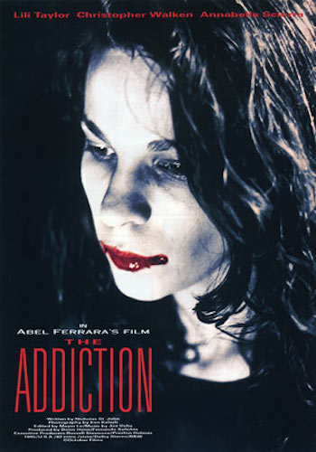 The Addiction - Dir. Abel Ferrara   imdb synopsis: A New York philosophy grad student turns into a vampire after getting bitten by one, and then tries to come to terms with her new lifestyle and frequent craving for human blood.