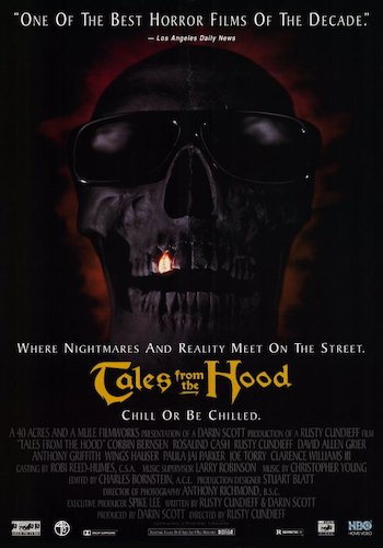 Tales from the Hood - Dir. Rusty Cundieff   imdb synopsis: A funeral director tells four strange tales of horror with an African American focus to three drug dealers he traps in his place of business.